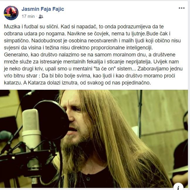 Intrigantan Facebook status frontmena DUM DUM Band-a Jasmina Fajica Faje!